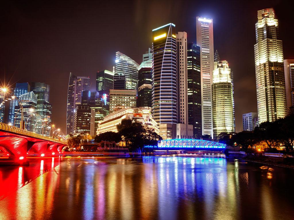 Singapura - Skyline noturno